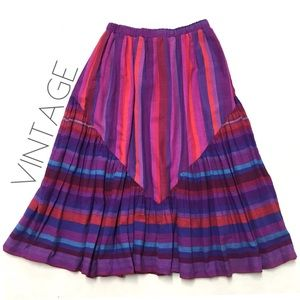 VTG striped Guatemalan cotton woven midi skirt S M